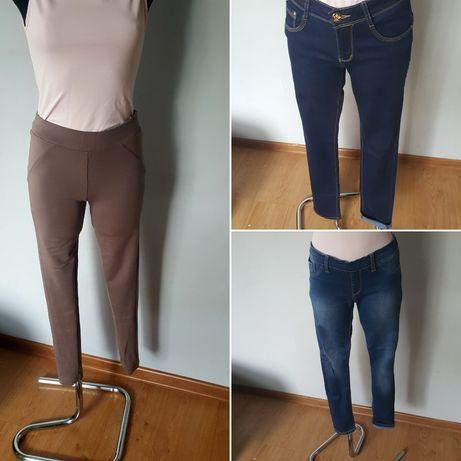Leginnsy/leginsy/rurki/spodnie r.S/36 ! 3 pary! Jeansy/beżowe/brąz!