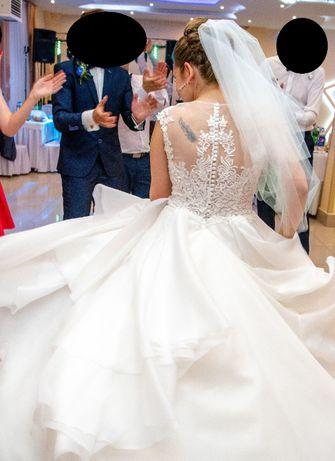 Suknia ślubna komplet 2x welon halka z kołem