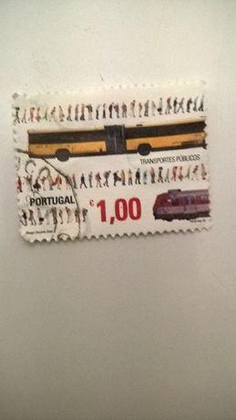 Selo Correio Portugal Transportes Públicos Autocarros (portes incluído