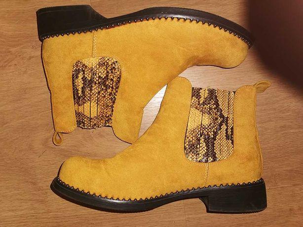 Buty kozaki żółte