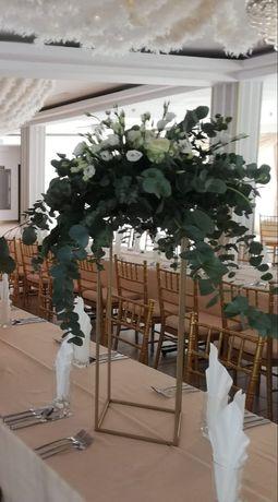 Stojak na kwiaty ślub wesele złote