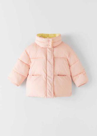 Красивая фирменная демисезонная куртка девочки zara розовая пуховик