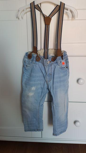 Spodnie jeansy z szelkami H&M r 80