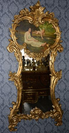 Espelho com imagem pintada senhora com anjo madeira dourada