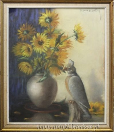 żółte kwiaty z papugą pastel Mona Martry Belgia 1970r 65/67cm