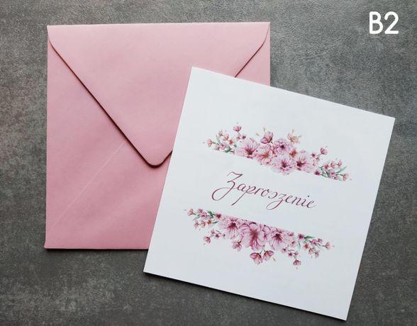 Zaproszenia ślubne kwadratowe kwiatowe rozowe