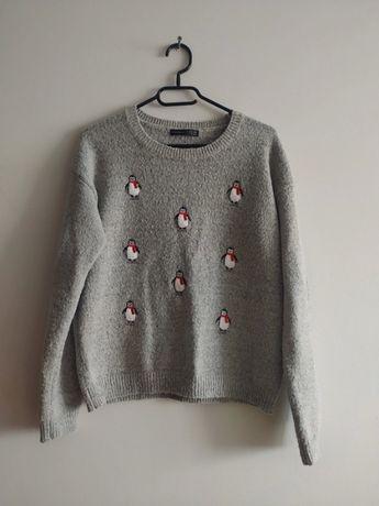 Sweterek szary z pingwinkami rozm. L, XL