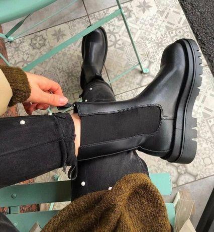 Bottega Veneta  Натуральная кожа новые стильные ботинки сапоги черные