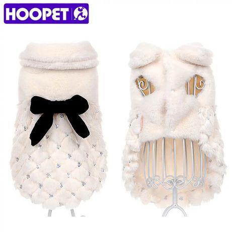 luksusowe futro płaszcz zimowy dla psów i kotów ubrania