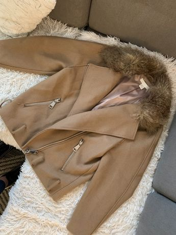 Wełniana Kurtka Biker Ramoneska h&m futerko beżowe palto nude 36 S