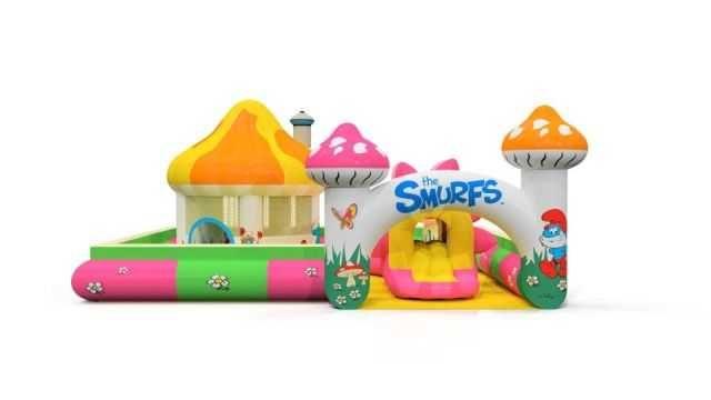Dmuchana zjeżdżalnia, zamek, miotła, plac zabaw Smerfna zagroda