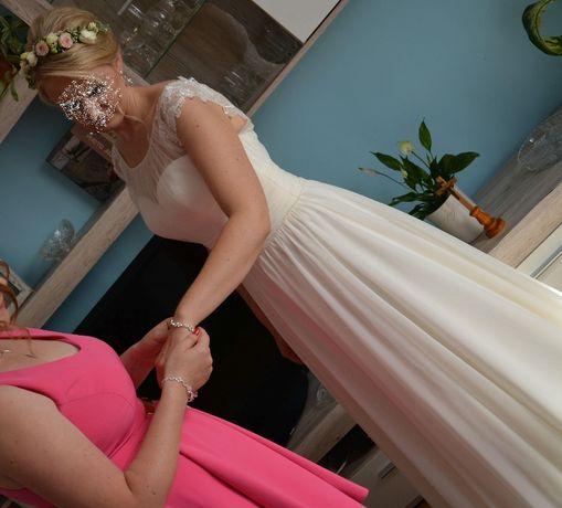 Suknia ślubna r.36 kolor śmietankowy