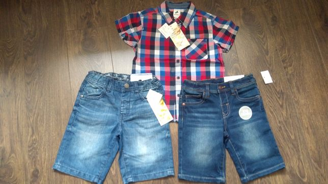 C&A koszula jeansowe spodenki 110, 116 nowe z metką