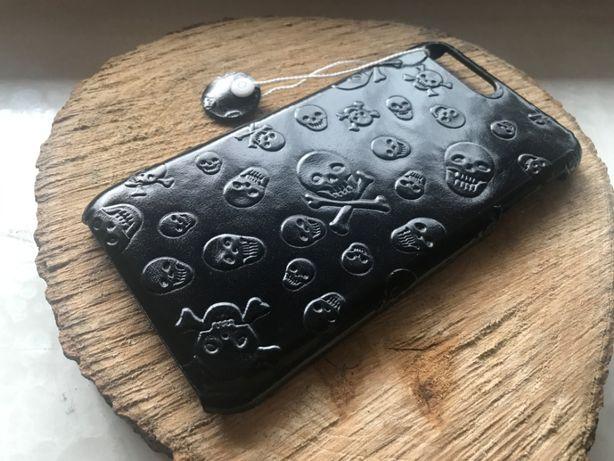 SKÓRZANY Case HANDMADE iPhone 7 i 8 Plus + folia ochronna SKULLS Plein