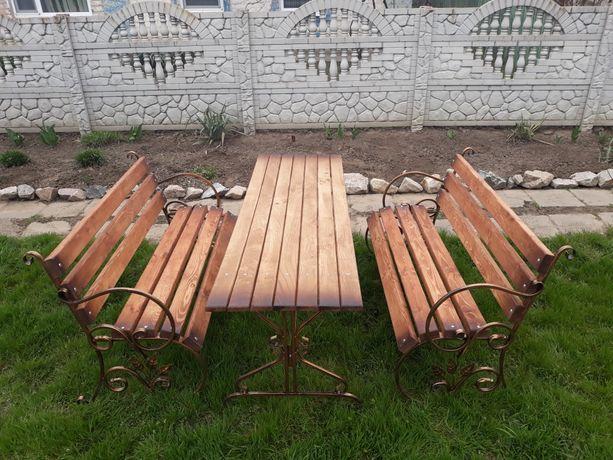 Комплект садовой мебели 2 лавочки +садовый стол/лавочка/стол/боковины.