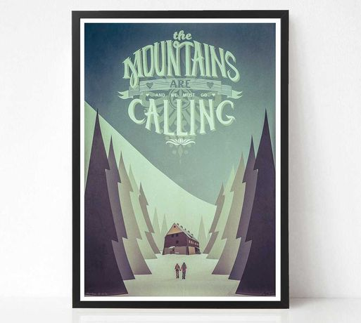 The Mountains Are Calling Plakat Grafika Góry Beskidy
