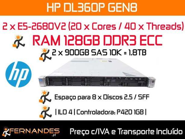 HP DL360P G8 | 40 x Cores | 128GB RAM 1600Mhz | 1.8TB Espaço |
