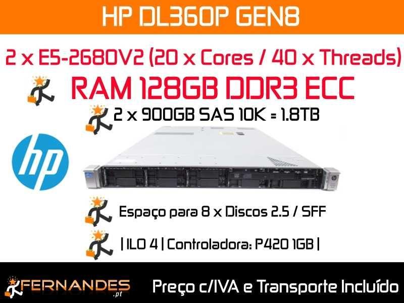 HP DL360P G8 | 40 x Cores | 128GB RAM 1600Mhz | 1.8TB Espaço em Disco