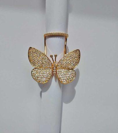 Pierścionek motyl cyrkonie