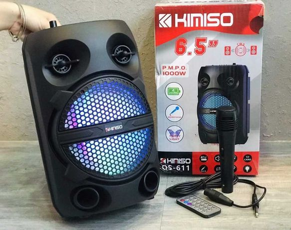 Портативная колонка KIMISO QS-611 с пультом и микрофоном