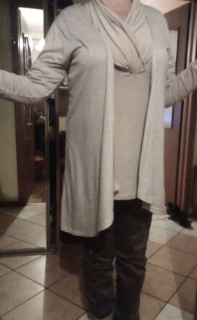 Komplet narzutka kardigan cienki + bluzka gratis- 42/XL