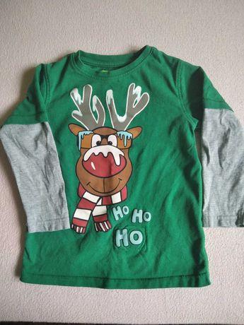 Bluzka Next, renifer Rudolf, świąteczna, rozmiar 104cm, gratis