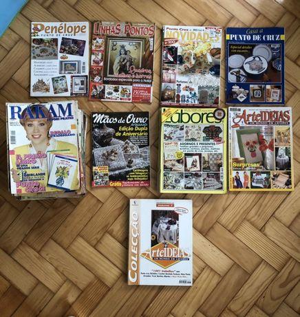 Lote 40 revistas artesanado/ponto cruz