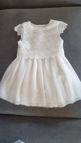 Zjawiskowa sukienka r. 80 ecru gipiurka