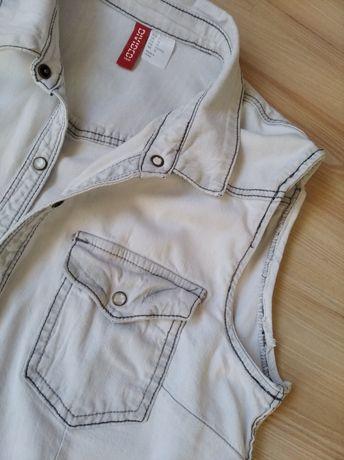 Modna, ciekawa kamizelka jeansowa jasna DIVIDED roz. S