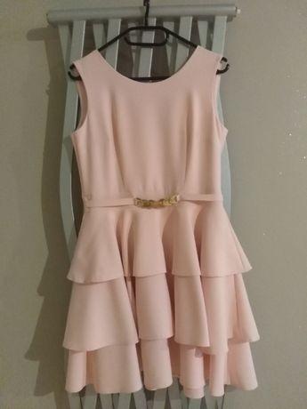Śliczna pudrowa sukienka na imprezę r. 38