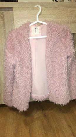 Futro futerko cardigan sweter sweterek H&m xs różowe futrzana futrzany