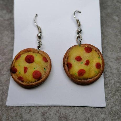 Kolczyki pizzę z modeliny handmade