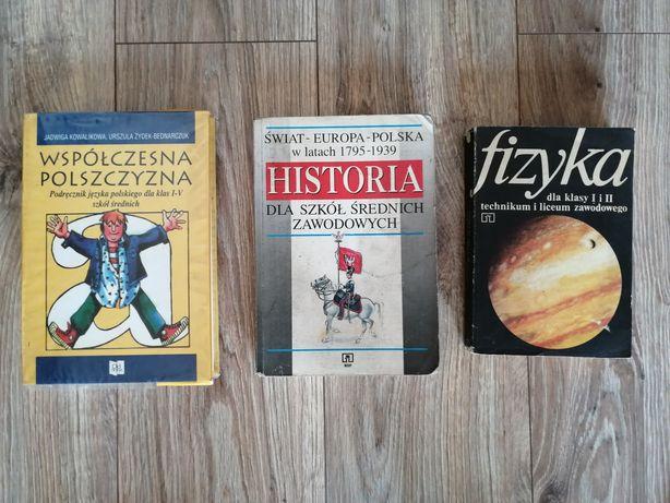 Podręczniki szkoła średnia - fizyka, historia, współczesna polszczyzna