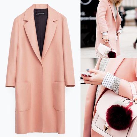 Zara пальто пудровое