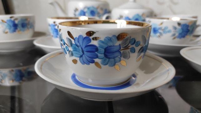 Чайный сервиз Дельфиниум(Полонное,СССР,роспись,позолота,в идеале)