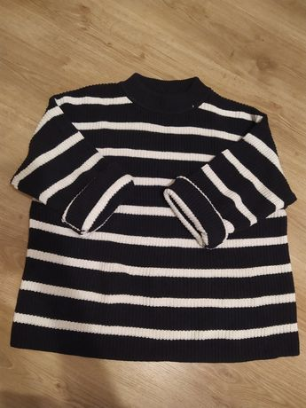 Sweter w paski h&m oversize pasiak