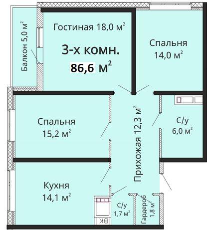 ПРОДАМ СВОЮ КВАРТИРУ!ЖК Горизонт/3-х комнатная/86,6 м2/В ГЛУБИНЕ ДВОРА