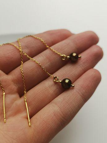 Kolczyki przeciągane z naturalnymi perełkami