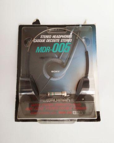 Nowe słuchawki Sony MDR-005 czarne stereo jack 3.5 mm walkman vintage