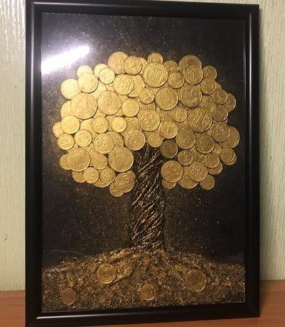Картина Панно из монет Эксклюзивный подарок Денежное дерево