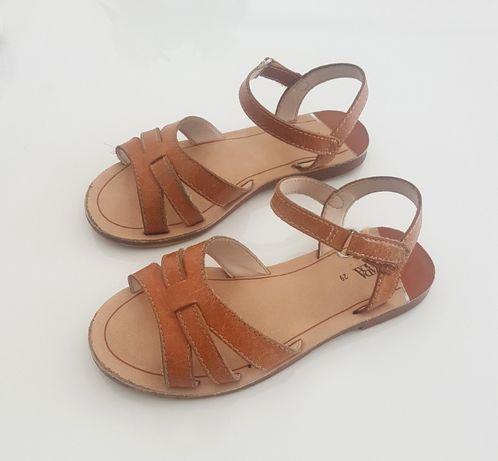 Zara skórzane sandały brązowe r. 29