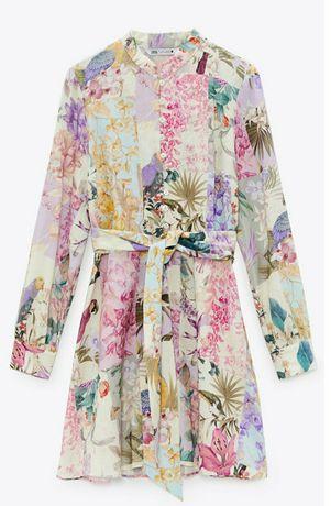 Zara sukienka kwiaty papugi hit S nowa