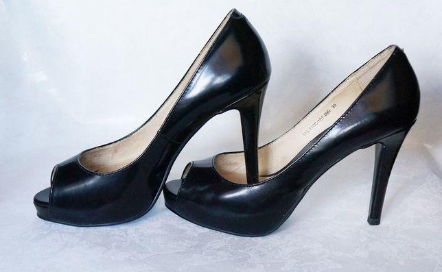 туфли с открытым носком Braska чёрные натуральная кожа 35 размер