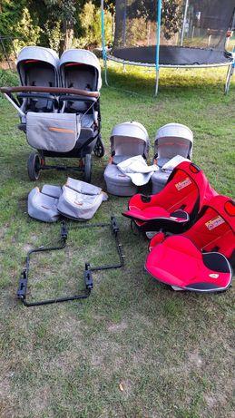 Wózek Dorjan Quick Twin bliźniaczy z fotelikami + łóżeczko turystyczne