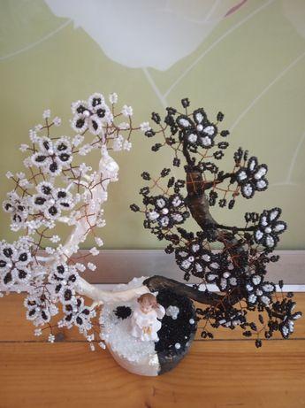 Дерево из бисера Инь Янь .