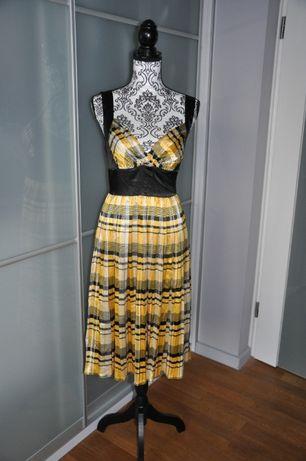 Sukienka w kratkę w modnym żółto czarnym kolorze