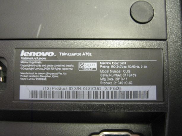 Computador Lenovo/IBM ThinkCentre A70z All-in-One