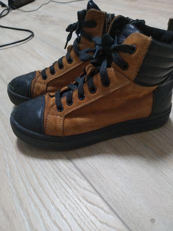Зимние ботинки на меху, кроссовки детские, кожаные