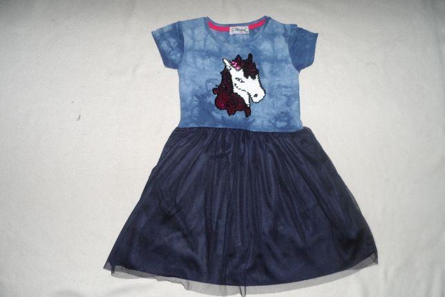 Sukienka jednorożec zmienne cekiny tiul 5-6 L NOWA