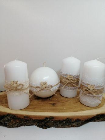 Świeca kula walec rustykalny zestaw na prezent lub ozdoba na ślub